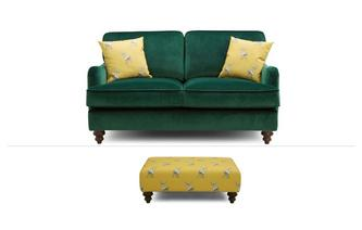 2 Seater Sofa & Stool Abbey Velvet