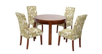 Sage Round Extending Table & Set of Upholstered Chairs