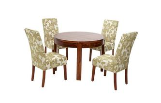 Round Extending Table & Set of Upholstered Chairs Sage
