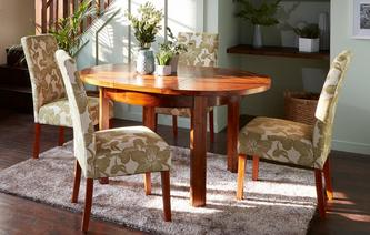Sage Round Extending Table & Set of Upholstered Chairs Sage