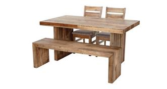 Sakura Small Fixed Top Table & Set of 2 Plain Seat Chairs and 1 Bench