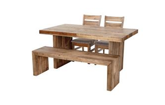 Small Fixed Top Table & Set of 2 Plain Seat Chairs and 1 Bench Sakura