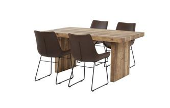 Small Fixed Top Table & Set of 4 Scoop Chairs Sakura