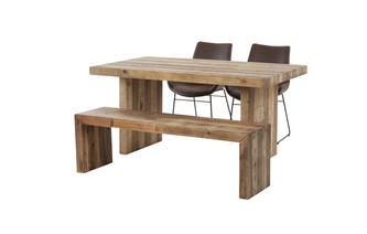 Small Fixed Top Table & Set of 2 Scoop Chairs and 1 Bench Sakura