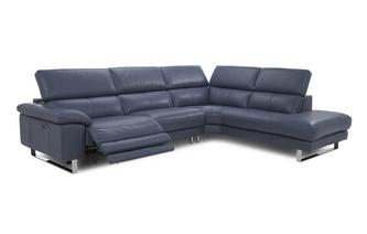 Option C Left Arm Facing Single Electric Recliner Corner Sofa