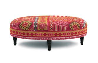 Oval Footstool Salsa Fabric