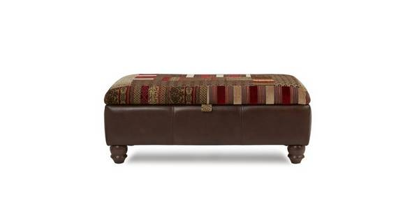 Santiago Patchwork Top Storage Bench Footstool