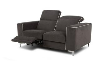 2-zitsbank elektrische recliner met wit bies Tiana Fabric with White Faux Leather Piping