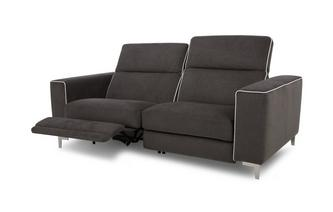3-zitsbank elektrische recliner met wit bies Tiana Fabric with White Faux Leather Piping
