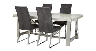 Satellite Rechthoekige eettafel en reeks van 4 stoelen