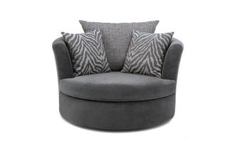 Large Swivel Chair with 2 Pattern Scatters