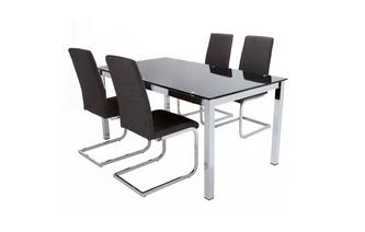 Fixed Top Table & Set of 4 Cantilever Chairs Savvy