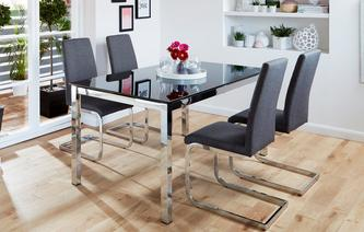 Savvy Fixed Top Table & Set of 4 Cantilever Chairs Savvy