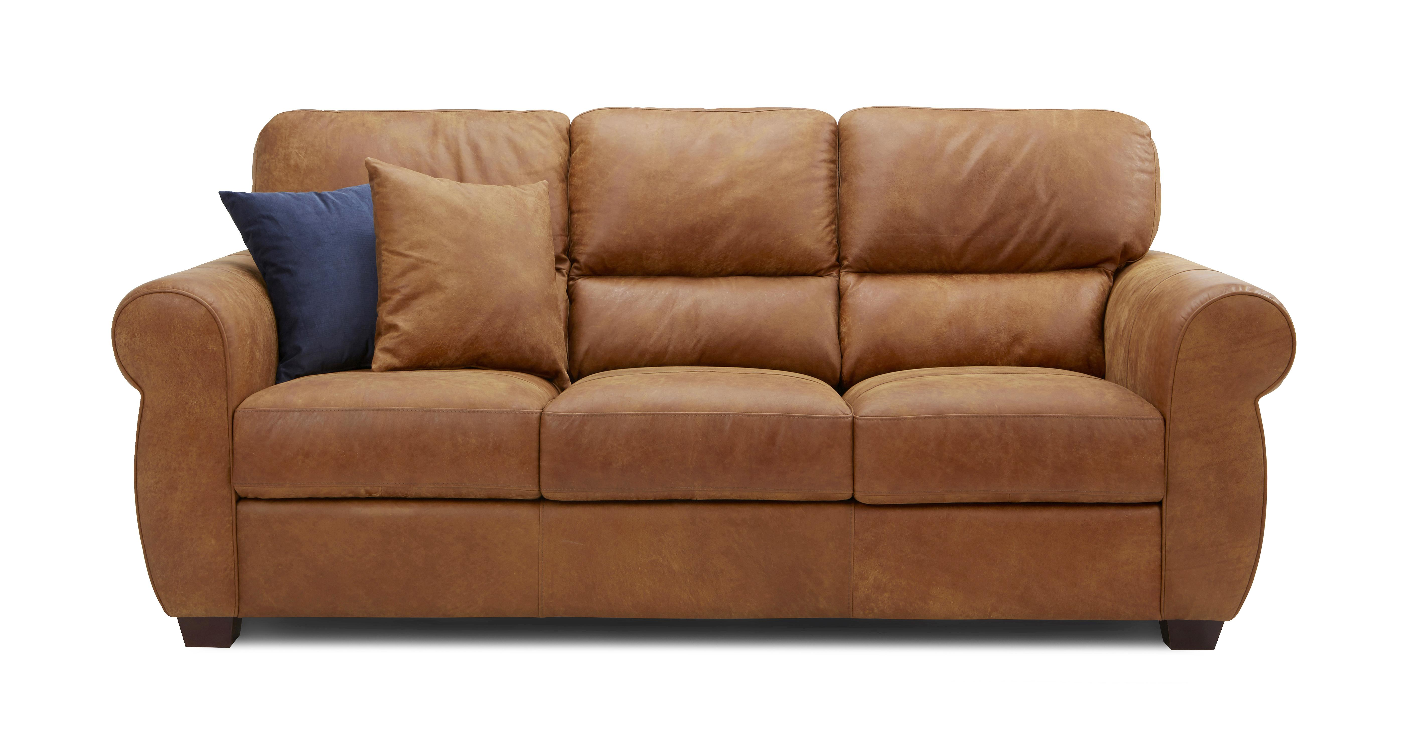 Senzo 3 Seater Sofa Saddle Dfs ~ Brown Leather Sofa With Studs