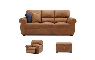 Senzo Clearance 3 Seater, Power Recliner Chair & Footstool Saddle