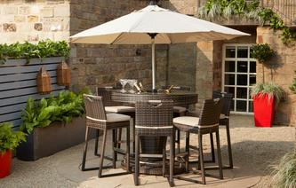 Seville 6 Seater Bar Set with Ice Bucket PU Rattan