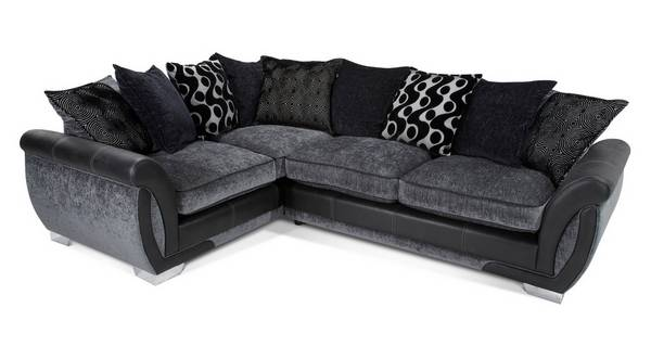 Shannon Right Hand Facing 3 Seater Pillow Back Deluxe Corner Sofa Bed