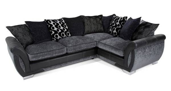 Shannon Left Hand Facing 3 Seater Pillow Back  Corner Sofa Bed