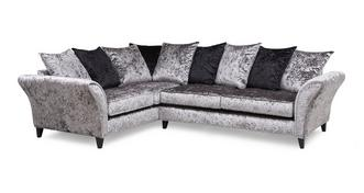 Shine Right  Hand Facing 2 Seater Pillow Back Corner Sofa