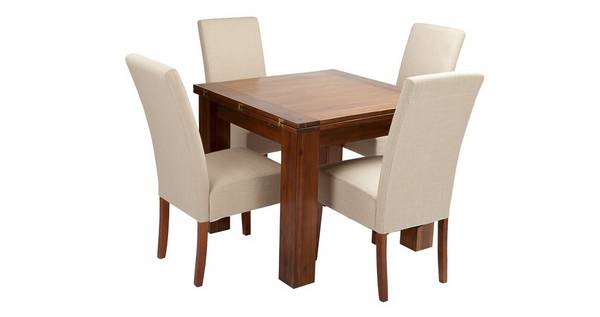 Shiraz Flip Top Table & Set of 4 Tunis Dark Leg Chairs