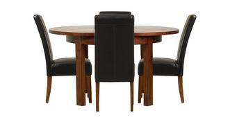 Shiraz Ronde uitschuifbare tafel & set van 4 Ariana Dark Leg stoelen