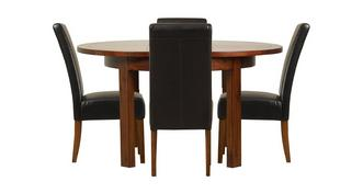 Shiraz Round Extending Table & Set of 4 Ariana Dark Leg Chairs