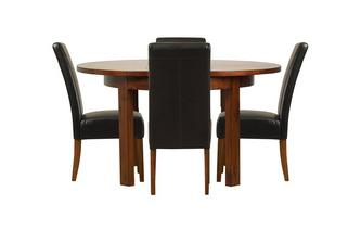 Round Extending Table & Set of 4 Ariana Dark Leg Chairs