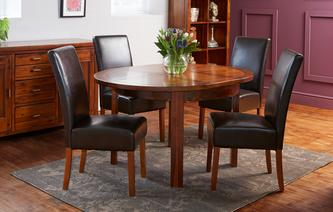 Shiraz Round Extending Table & Set of 4 Ariana Dark Leg Chairs Shiraz Acacia