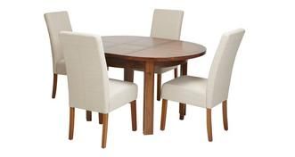 Shiraz Round Extending Table & Set of 4 Tunis Dark Leg Chairs