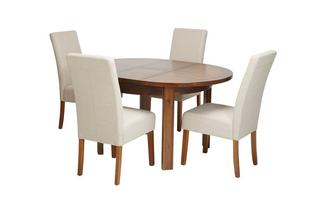 Round Extending Table & Set of 4 Tunis Dark Leg Chairs Shiraz Acacia