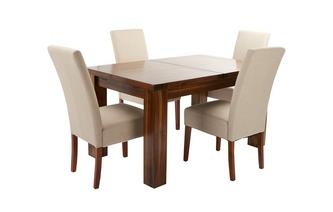 Small Extending Dining Table & Set of 4 Tunis Dark Leg Chairs Shiraz Acacia