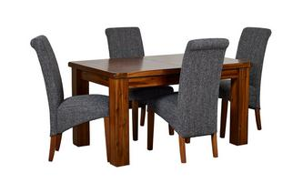 Small Extending Dining Table & Set of 4 Shiraz Upholstered Chairs Shiraz Acacia