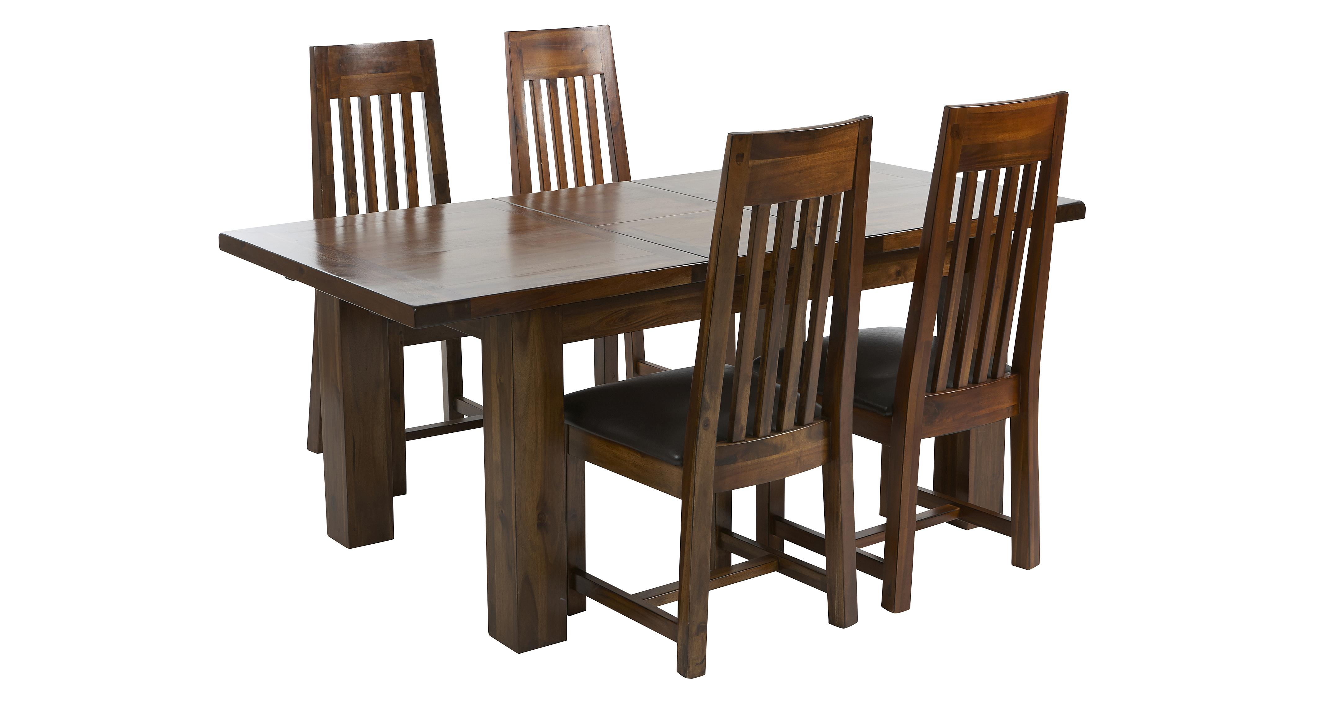 Shiraz Small Extending Dining Table & Set of 4 Slat Back Chairs ...