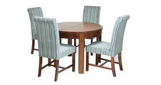 Shiraz Round Extending Dining Table & Set of 4 Shiraz Upholstered Chairs