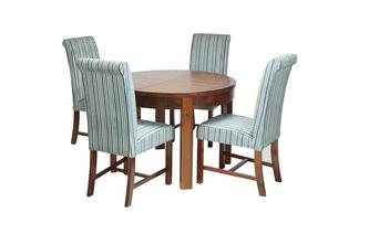 Round Extending Dining Table & Set of 4 Shiraz Upholstered Chairs