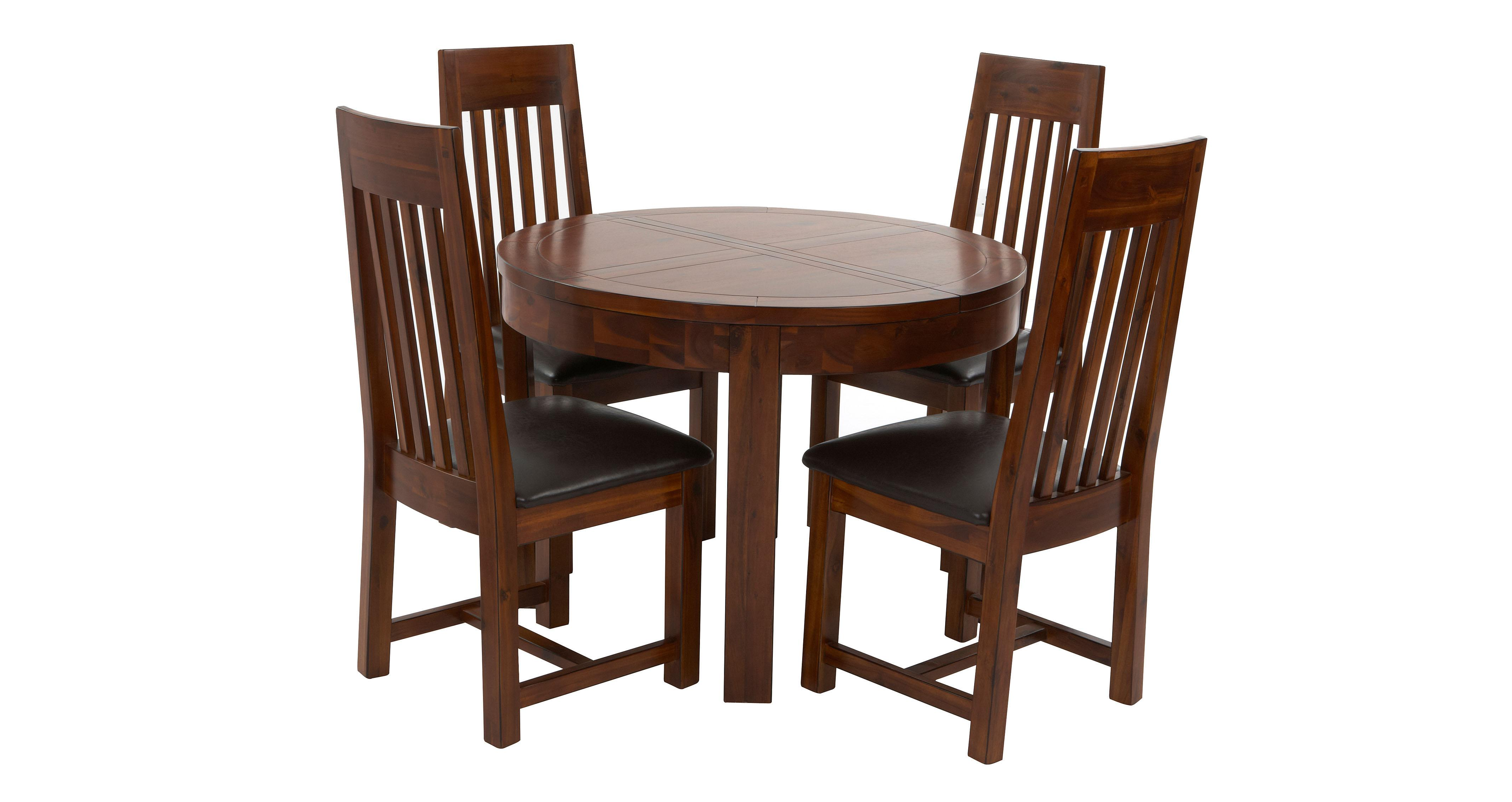 Shiraz Round Extending Dining Table Set of 4 Slat Back Chairs