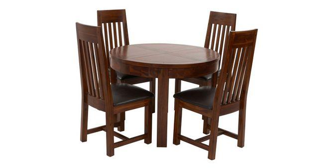 Shiraz ronde uitschuifbare eetkamertafel en set van 4 stoelen met
