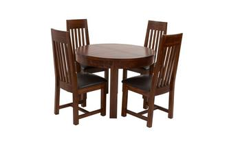 Round Extending Dining Table & Set of 4 Slat Back Chairs