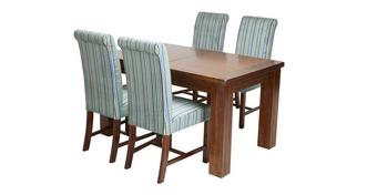 Shiraz Large Extending Dining Table & Set of 4 Shiraz Upholstered Chairs