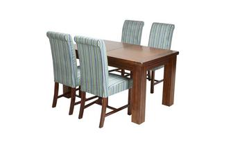 Large Extending Dining Table & Set of 4 Shiraz Upholstered Chairs Shiraz Acacia