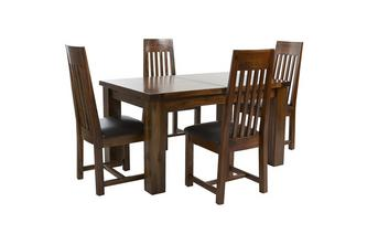 Large Extending Dining Table & Set of 4 Slat Back Chairs Shiraz Acacia