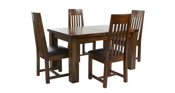 Shiraz Large Extending Dining Table & Set of 4 Slat Back Chairs