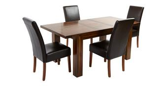 Shiraz Large Extending Dining Table & Set of 4 Ariana Dark Leg Chairs
