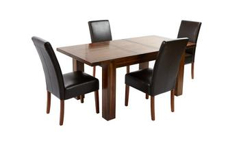 Large Extending Dining Table & Set of 4 Ariana Dark Leg Chairs Shiraz Acacia