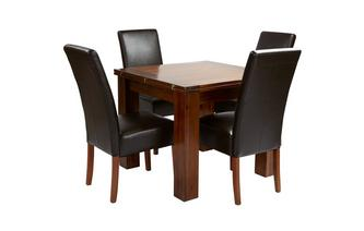 Flip Top Table & Set of 4 Ariana Dark Leg Chairs Shiraz Acacia