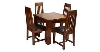Shiraz Opklap tafel & set van 4 stoelen met latten rugleuning