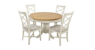 Shore Round Extending Table and Set of 4 Cross Back Chairs