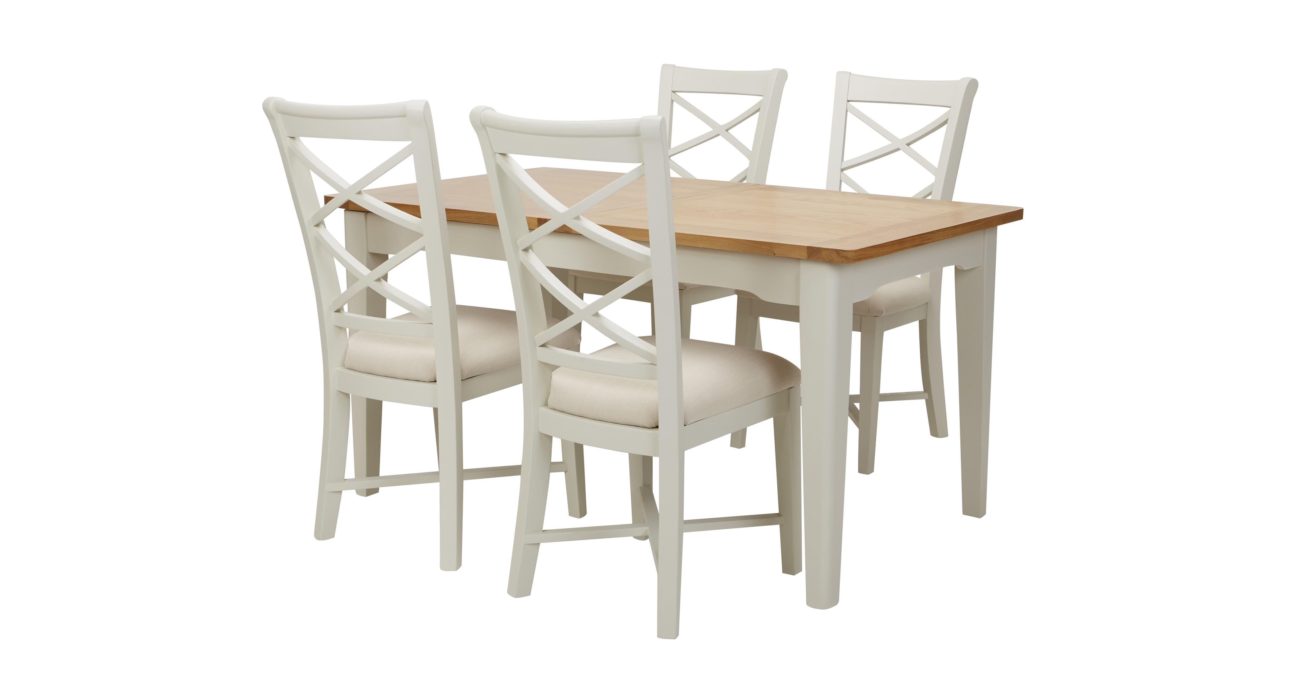 shore small rectangular extending table set of 4 cream dining chairs dfs. Black Bedroom Furniture Sets. Home Design Ideas