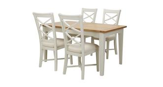 Shore Small Rectangular Extending Table & Set of 4 Cream Dining Chairs