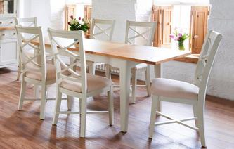 Awesome GXD Shore Small Rectangular Extending Table U0026 Set Of 4 Cream Dining Chairs  Shore